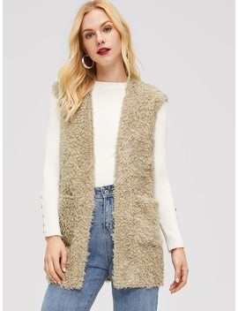 Pocket Front Sleeveless Teddy Coat by Shein