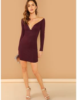 Form Fitting Buttoned Bardot Dress by Shein