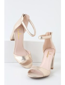 Sidecar Cutie Champagne Sueded Metallic Ankle Strap Heels by Lulus