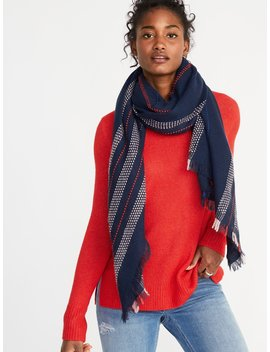 Fringed Textured Stripe Scarf For Women by Old Navy