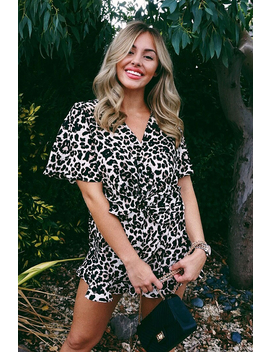 Leopard Print Wrap Front Frill Playsuit   Aadvi by Rebellious Fashion