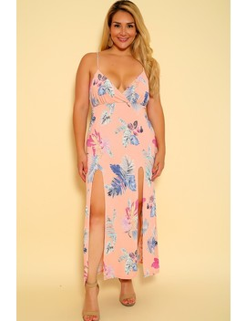 Sexy Pink Floral Sleeveless Plus Size Maxi Dress by Ami Clubwear