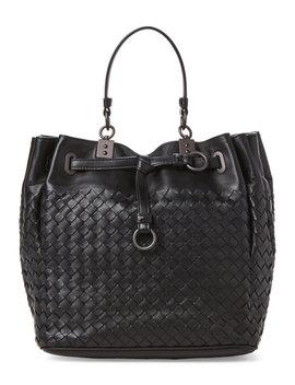 Black  Intrecciato Nappa Leather Bucket Bag by Bottega Veneta
