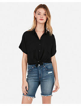 Boxy Cropped Two Pocket Shirt by Express