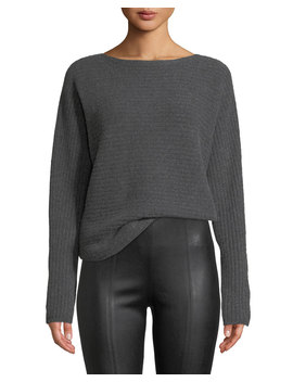 Ribbed Wool Boat Neck Pullover Sweater by Vince