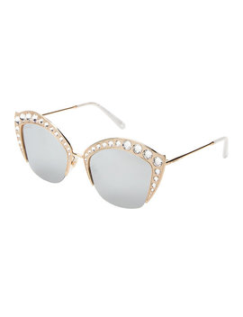 Gg 0114/S Gold Tone Cat Eye Sunglasses by Gucci