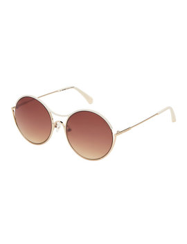 Bl252004 Cream & Gold Tone Round Sunglasses by Balmain