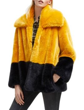 Sebille Colorblock Faux Fur Jacket by French Connection