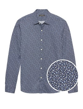 Grant Slim Fit Floral Performance Knit Shirt by Banana Repbulic