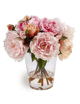 Peonies In Multicolor Glass Vase 13 by Generic