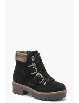 Chunky Sole Check Collar Hiker Boots by Boohoo