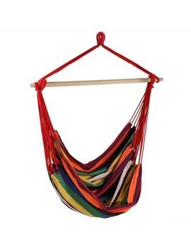 Sunset Jumbo Hanging Rope Hammock Chair Swing   Orange/Red   Sunnydaze Decor by Sunnydaze Decor