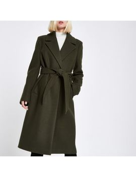 Khaki Knitted Belted Robe Coat by River Island