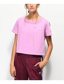 Champion Script Pink Crop T Shirt by Champion