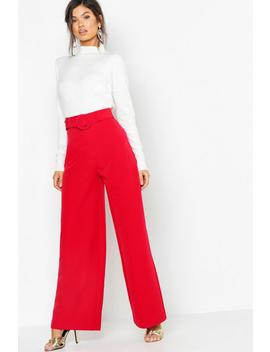 Wide Leg Belted High Waist Trouser by Boohoo