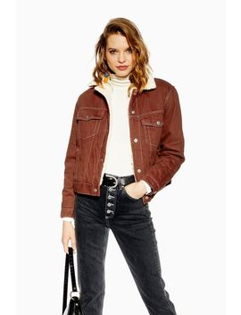 Rust Denim Borg Jacket by Topshop