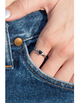 Silver And Deep Blue Rhinestone Ring by Brandy Melville