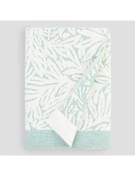 Green And Ivory Palm Leaf Sculpted Margot Bath Towel by World Market