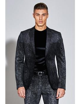 Premium Skinny Snakeskin Velour Blazer by Boohoo