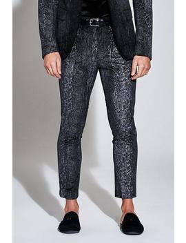 Premium Skinny Snakeskin Velour Cropped Trouser by Boohoo