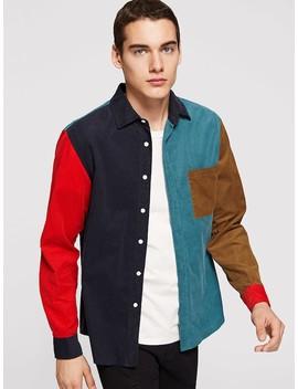 Men Single Pocket Color Block Corduroy Shirt by Shein