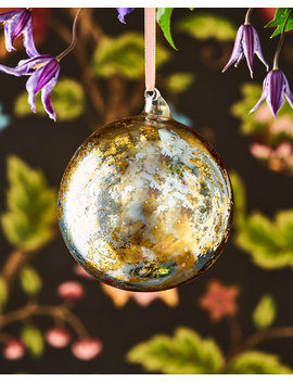 Gold And Silver Leaf Glass Ball Ornament by Neiman Marcus