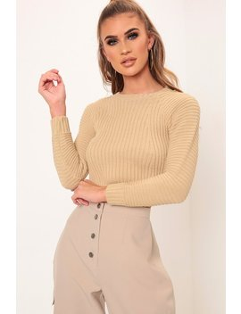 Camel Crew Neck Cropped Jumper by I Saw It First