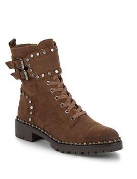 Jennifer Studded Leather Combat Boots by Sam Edelman