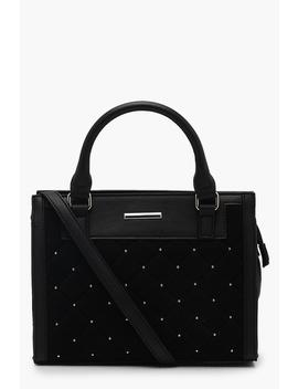 Quilted Stud Mini Tote by Boohoo