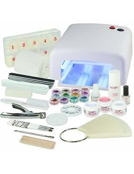 Uv Nail Salon Starter Set White Nail Set With Nail Art, Uv Lamp And Uv Gel Ideal Starter Set by Nailsfactory