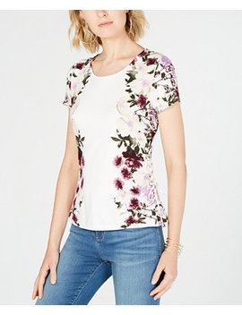 I.N.C. Printed Lace Up Top, Created For Macy's by Inc International Concepts