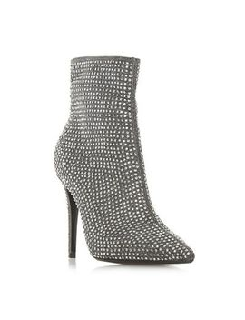 Dune   Silver 'orrnate' High Stiletto Heel Ankle Boots by Dune