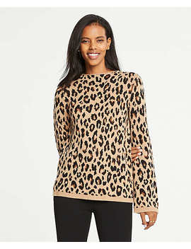 Petite Spotted Mock Neck Sweater by Ann Taylor