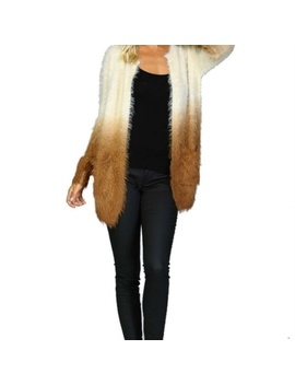 Listicle Brown Ombre Shaggy Fur Open Cardigan by Ginga's Galleria