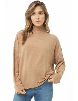 Ribbed Mock Neck Top by Forever 21