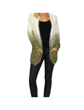 Listicle Green Ombre Shaggy Fur Open Cardigan by Ginga's Galleria