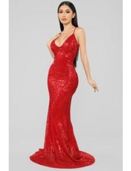 Are You Feeling Me Sequin Gown   Red by Fashion Nova