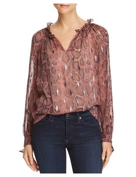 Snake Print Ruffle Trim Top by Rebecca Taylor