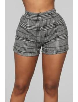 Plaid To Be Back Shorts   Black/White by Fashion Nova