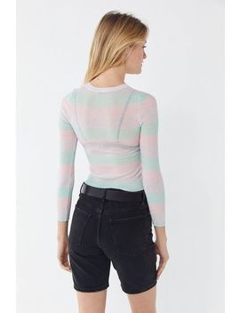 Uo Mabel Striped Long Sleeve Cropped Sweater by Urban Outfitters