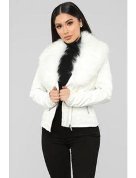 Elsa Faux Leather Jacket   White by Fashion Nova