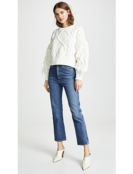 Jasper Fringe Cable Knit Sweater by Line & Dot