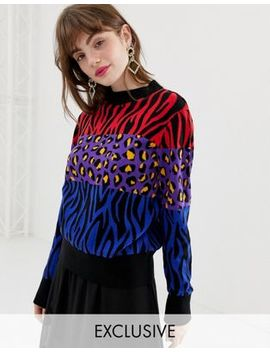 Monki Knitted Sweater In Mixed Leopard Print by Monki