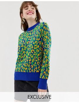 Monki Knitted Sweater In Leopard Print Color Block by Monki