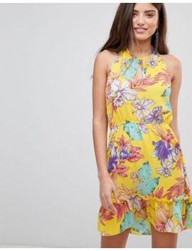 Pretty Little Thing Floral Haterneck Skater Dress by Pretty Little Thing