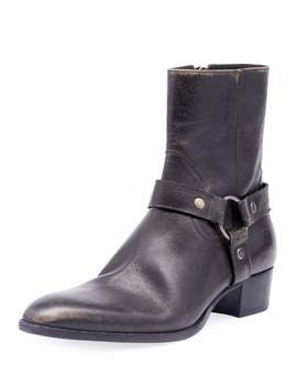 Men's Wyatt Leather Harness Boots by Saint Laurent