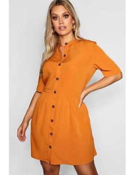 Plus Button Front Smock Dress by Boohoo