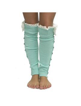 Mint Green Button Lace Top Leg Warmers Socks by Tradesy
