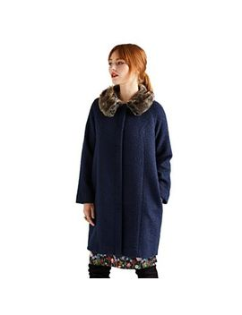 Yumi   Blue Faux Fur Collar Swing Coat by Yumi