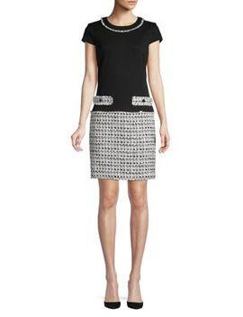 Short Sleeve Tweed Sheath Dress by Karl Lagerfeld Paris